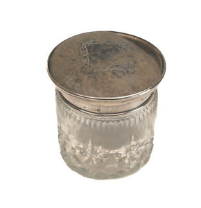 Deakin Francis Ltd Birmingham Sterling Silver Cut Glass Vanity Jar 1915