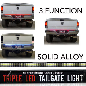 60 Led Tailgate Bar Sequential Turn Signal Amber Brake Light Rear Rigid Solid