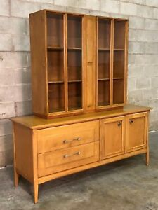 Heywood Wakefield Mid Century Modern Buffet With China Cabinet Bookcase