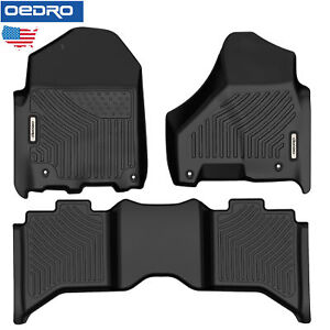 Oedro All Weather Floor Mats Set Fit For 13 18 Dodge Ram 1500 2500 3500 Crew Cab
