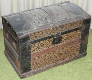 Antique Camelback Humpback Storage Chest Steamer Luggage Trunk 26 Local P