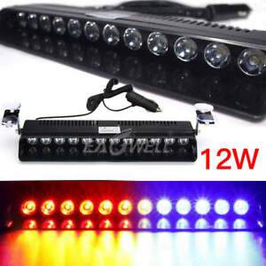Blue Red 12 Led Car Emergency Strobe Light Hazard Warning Flash Visor Dash Lamp