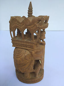 Antique Indian Sandalwood Carving Of Elephant Carriage 1a