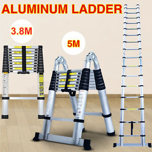 12 5ft 16 5ft Aluminum Multi purpose Telescopic Ladder Extension Foldable Shelf