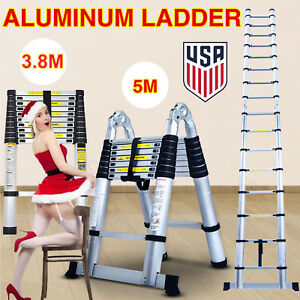 12 5ft 16 5ft Aluminium Step Ladders Telescoping Multi purpose Extension Ladder