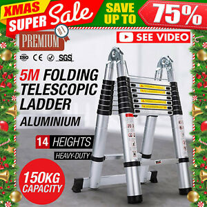 16 5ft Aluminum Telescopic Telescoping Loft Step Extension Multi purpose Ladder