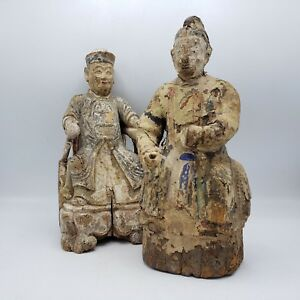Antique Pair Of Carved Wood Chinese Figures 12 Tall