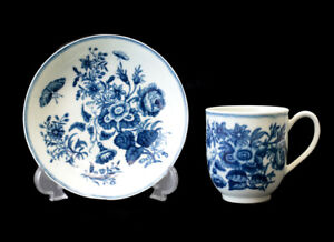 Antique Royal Worcester Demitasse Cup And Saucers White And Blue Circa 1760