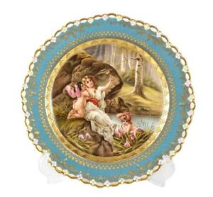 Berlin Kpm Cabinet Plate Of Venus U Amor Late 19th Century Reticulated Rim