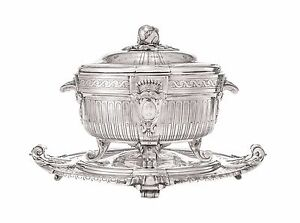 Silver Plate Soup Tureen And Cover With Matching Stand By Christofle Paris