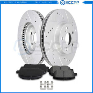 Front Disc Brake Rotor Ceramic Pads For 2003 2008 Toyota Corolla Drilled Slotted
