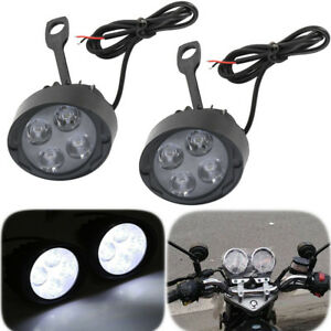 2x 4 Led Motorcycle Headlight Driving Spot Fog Light Spot Lamp For Harley