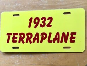 1932 Terraplane Front License Plate Flat Tag Hudson And Essex Car Yellow Red
