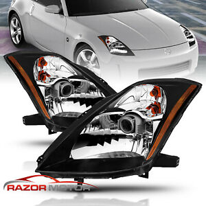 For 2003 2004 2005 Nissan 350z Coupe Z33 Fairlady Black Projector Headlights Set