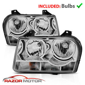 2005 2010 Chrysler 300 Chrome Headlight Lamp Pair Include Bulbs Socket