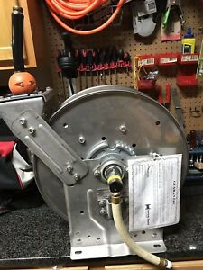 Hannay N700 Spring Rewind Reel With 300 Psi Hose And Hs 35 Hose Stop New