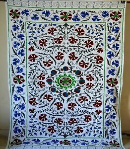 Vintage Embroidered Suzani Hand Blanket Bohemian Throw Quilt Twin Bedding