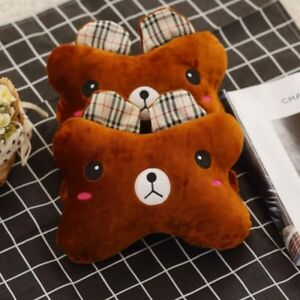 2pcs Fashion Cute Cartoon Brown Bear Car Headrest Neck Pillow Cushion Headrest