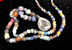 Ancient Roman Glass Pendant Colorful Assorted Phoenician Glass Bead Necklace