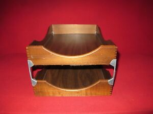 Vintage Walnut Double Tray Desk In Out Box Letters Paper File
