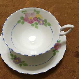 Tuscan Pastel Flowers Fine Bone China Cup Saucer England