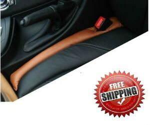 2x Leather Auto Car Seat Gap Filler Soft Pad Stop Holster Blocker Us Stock Brown