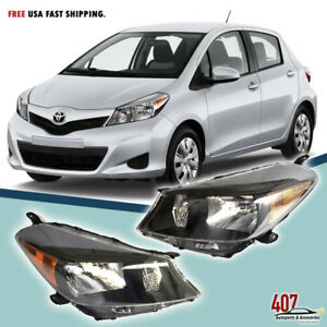 Fits For 2012 2014 Toyota Yaris Hatchback Headlights Black Housing Lamp Set