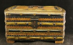 Vtg Handmade Wood Metal Brass Small Distressed Treasure Chest Trinket Box