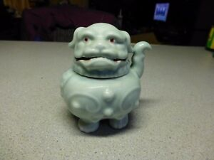 Vintage Ceramic Jade Foo Dog Incense Burner Japan