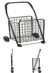 Collapsible Rolling Cart With Wheels For Shopping And Grocery Folding Utility