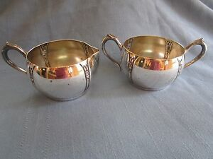 National Silver On Copper Cream And Sugar Set Excellent Condition
