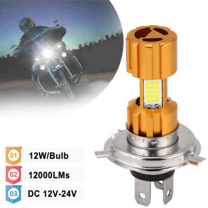 H4 Hb2 9003 Led Cob Motorcycle Bike Hi Lo Beam Headlight Lamp Bulb 6500k 12000lm