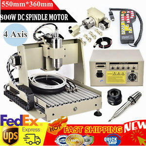 Ballscrew 4 Axis 3040 Cnc Router Engraver Engraving Milling Machine 800w Vfd Rc