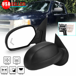 Side View Mirrors Fit For 2007 2013 Silverado Sierra Power Heated Signal Puddle