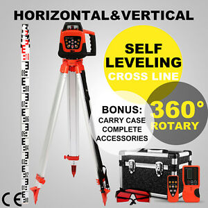500m Range Self leveling Rotary Red Laser Level Kit With Case Tripod Staff