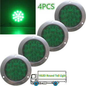 4 Green 16led Round Reverse Brake Turn Signal Rear Tail Light Trailer Truck 12v