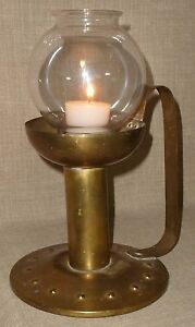 Old Unique Looking Handled Brass Chamber Stick Candle Holder W Glass Chimney