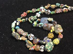 Ancient Roman Bird Mosaic Glass Colorful Assorted Phoenician Glass Bead Necklace