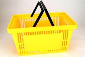 Yellow Plastic Shopping Baskets W handles Set Of 12