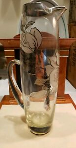 Sterling Silver Overlay Etched Floral Crystal Pitcher 13 Inch