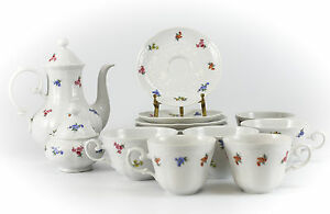 16pc Feltmann Weiden Porcelain Coffee Service Set Hand Painted Floral Design