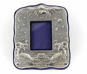 American Sterling Silver Photo Frame W Blue Velvet Backing Vintage Zodiac Aries