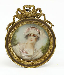 C 1900 Continental Hand Painted Porcelain Miniature Portrait Gilt Bronze Frame