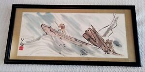 Vintage Signed Chop Seal Watercolor Art Painting Chinese Ship Sea Ocean Boat