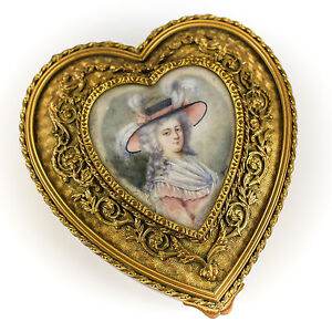 French Gilt Bronze Jewelry Trinket Box Hand Painted Portrait Of Lady Signed