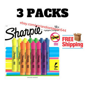 3 pack Sharpie Accent Highlighter Chisel Point Style 12 Set New