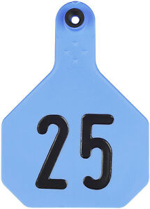 Y tex Large 4 Star Cattle Ear Tags Blue Numbered 1 25