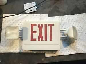 Skyu2rw Combo Exit Sign Skyline Lighting Red Letters Double Face White Housing
