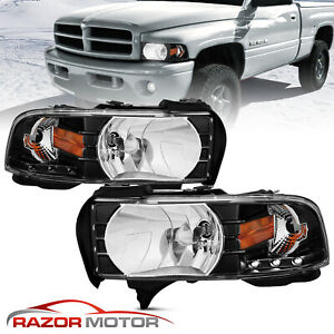 1994 2001 Black Headlight W Led Parking Light Pair For Dodge Ram 1500 2500 3500