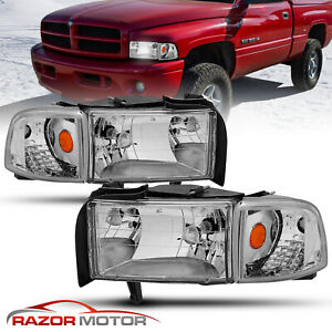 1994 01 Clear Replacement Headlight W bulb And Corner Signal For Dodge Ram Pair